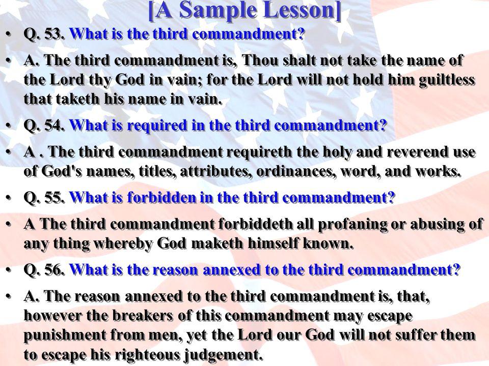 [A Sample Lesson] Q. 53. What is the third commandment